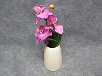 Single Stem Phalaenopsis Magenta Fabric Orchid White Ceramic Pot Decor