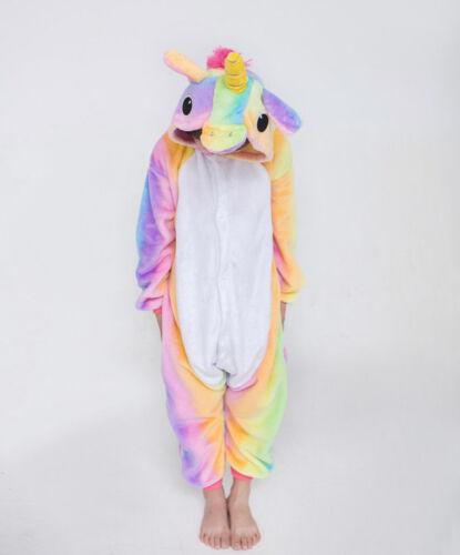 Kids Rainbow Unicorn Kigurumi Animal Cosplay Costume Onesie19 Pajamas Sleepwear