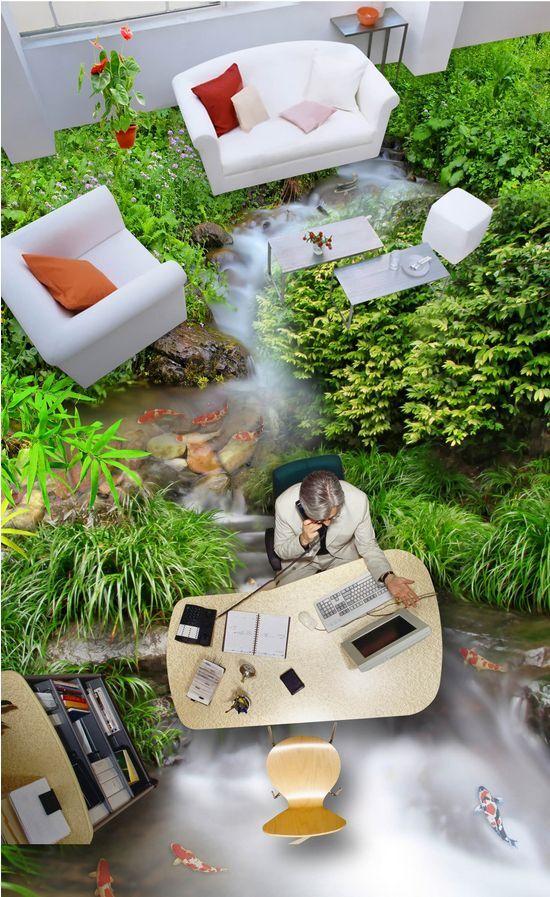 Peces de agua verde 5054 3D Piso Impresión De Parojo De Papel Pintado Mural Calcomanía 5D AJ Wallpaper