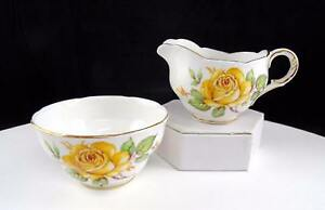 "MELBA ENGLAND #MEL14 YELLOW ROSE & SCALLOPED GOLD RIM 2 3/8"" CREAM & SUGAR 1950s"