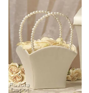 Ivory Flower Girl Basket Pearl Handle Wedding Flower Girl Basket   eBay