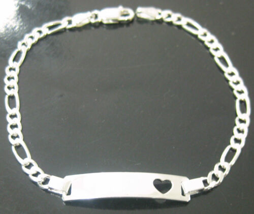 """GIRL MADE IN ITALY 925 sterling silver /""""OPEN HEART/"""" ID bracelet 16cm to 18.5cm"""