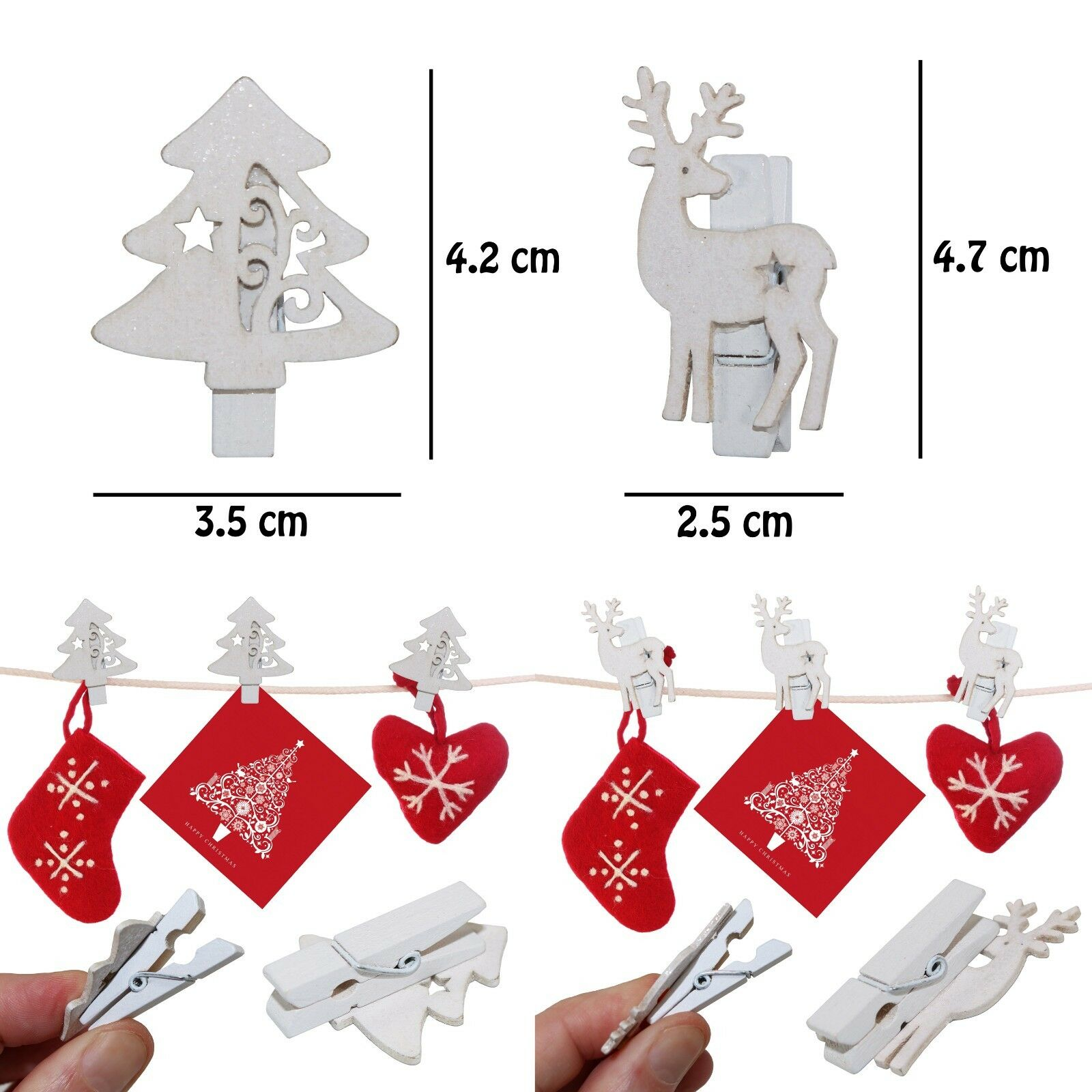 12 x Christmas Glitter Wooden Star Shaped Card Holder Memo Pegs Xmas Craft New