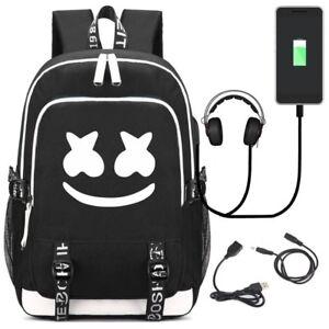 Marshmallow-Cosplay-Backpack-DJ-Marshmello-Oxford-Cloth-Bag-Unisex-USB-Schoolbag