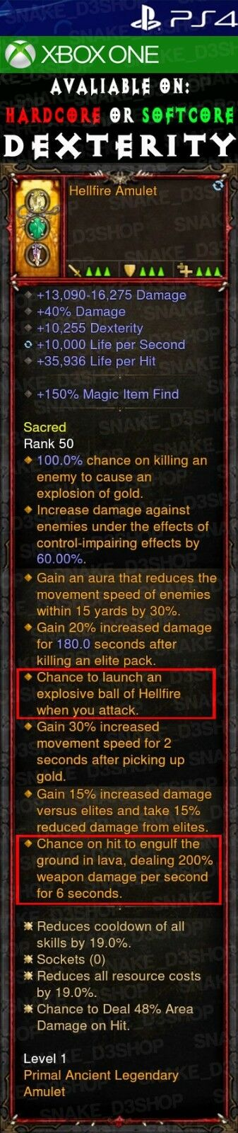 Diablo 3 PS4 - Xbox One - PRIMAL Modded Amulet - Hellfire With Ground in Lava