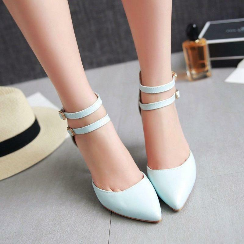 Women's High Heel Sandals Pointy Top Pumps Stiletto Lady Ankle Strap shoes Size
