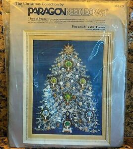 Paragon-Christmas-039-TREE-OF-PEACE-039-Stamped-Crewel-Embroidery-Applique-Kit-6429