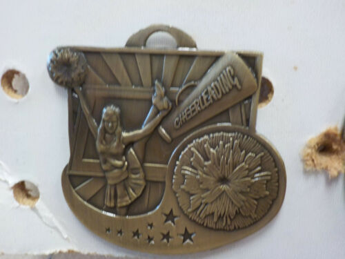 """engraving included nice cheerleading gold medal 2/"""" diameter ribbon with stars"""