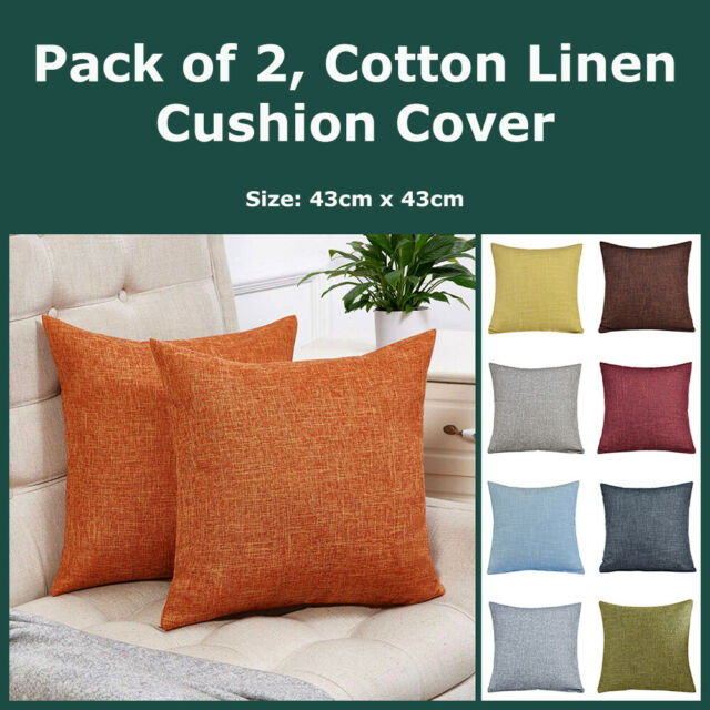 Pack of 2, Cotton Linen Textured Cushion Covers Home Decor Throws Pillow Cases