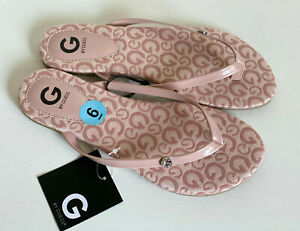 NEW-GUESS-BAYLA-PINK-SILVER-LOGO-G-RHINESTONES-FLAT-SANDALS-SLIPPERS-6-36-SALE