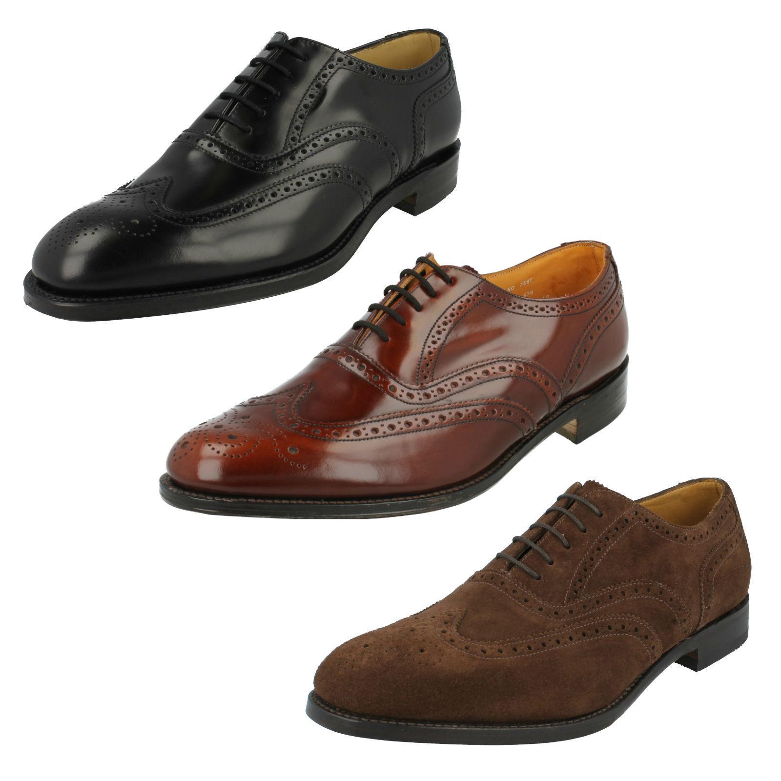 Para Hombre LOAKE 758 Marrón Pulido Cuero Inteligente Zapatos De Trabajo Uk Talla 8