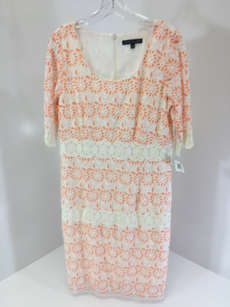 CHRIS MCLAUGHLIN damen LACE SHIFT DRESS SALMON Weiß Größe 14 NWT