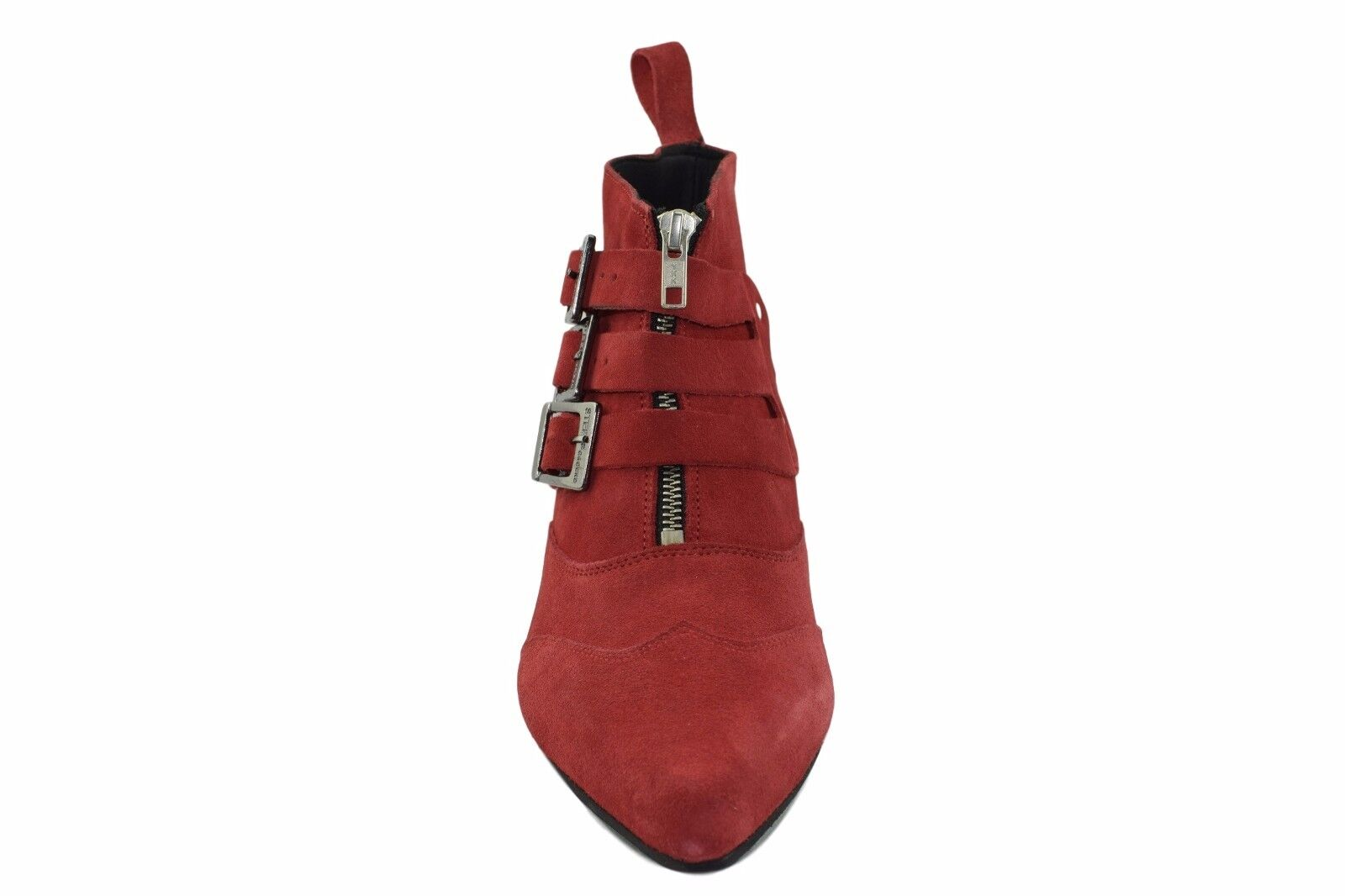 Steel Ground ROT Suede Winklepicker Ankle Ankle Ankle Stiefel 3 Straps Buckle Boot Sb011Z5 849e29