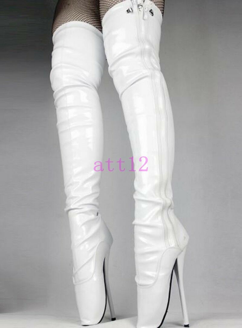 Dancing Womens Platform Hot Over Knee High Boots Pointy Toe Zip Ballet Shoes