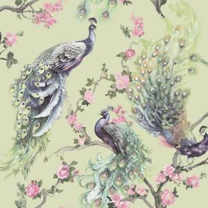Menali-Peacock-Glitter-Wallpaper-Green-Purple-Birds-Floral-Vinyl-Holden-Decor