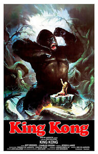 King Kong 1976 A1 Vintage Movie Poster High Quality Canvas Art Print