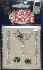 2 Stickers for price of 1 - Dirty Martini Crystal Cell Phone BLING Decal BBS006