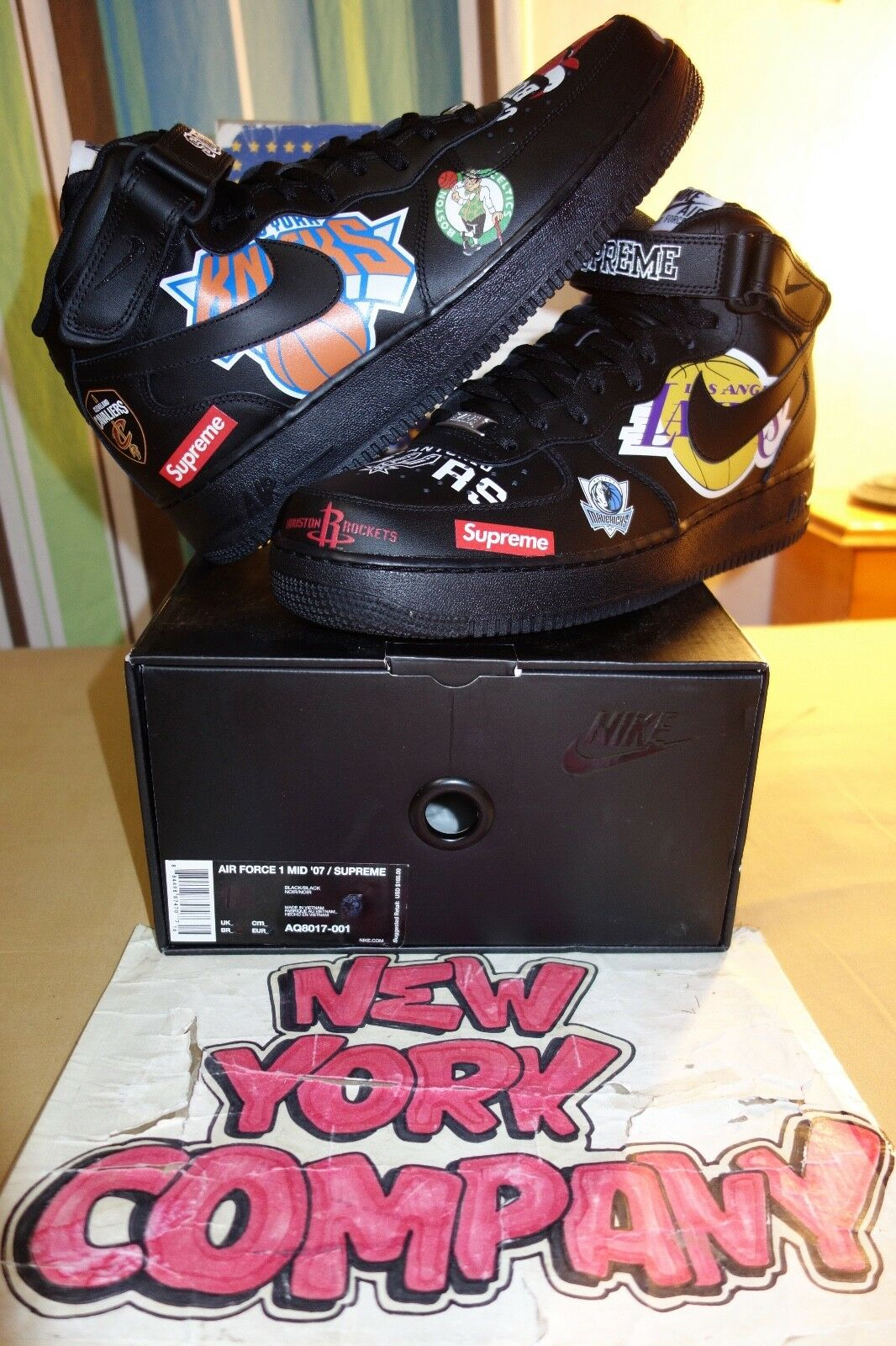 Nike Air Force 1 Mid '07   Supreme  NBA  Black  Black Black AQ8017 001