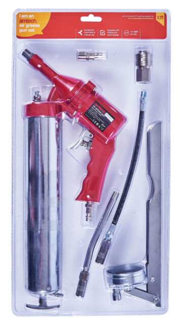 14oz Air Operated Grease Gun with Rigid and Flexible Extension Garage Workshop
