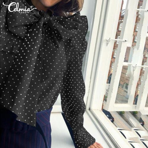 Korean Womens Bow Tie Ruffle Lantern Sleeve Polka Dot Frill T Shirt Blouse Top