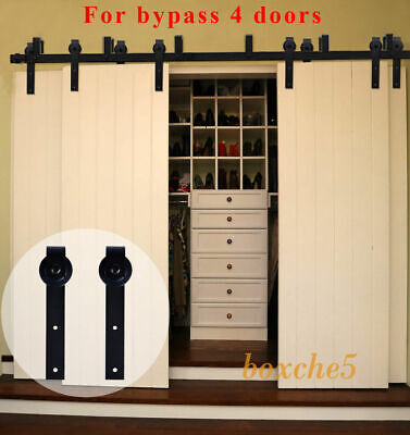 8FT 20FT Bypass Sliding Barn Wood Door Hardware Closet Kit For 4 Doors  Rustic | EBay
