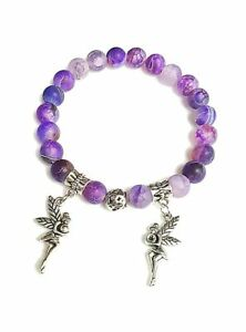 792cb718ecd14 Details about Women's Natural 8mm Purple Frosted Agate Stone Fairy Charms  Beaded Bracelet