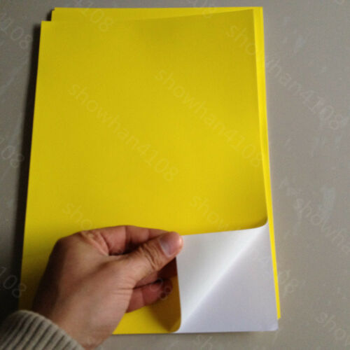 10pc A4 Yellow Waterproof PP Synthetic Self Adhesive Sticker Laser Printer Paper