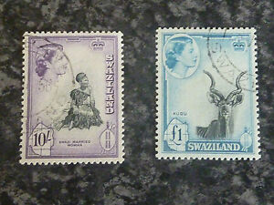 SWAZILAND-POSTAGE-STAMPS-SG63-64-10-amp-1-VERY-FINE-USED