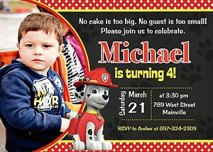 Image Is Loading Paw Patrol Marshall Birthday Party Invitation