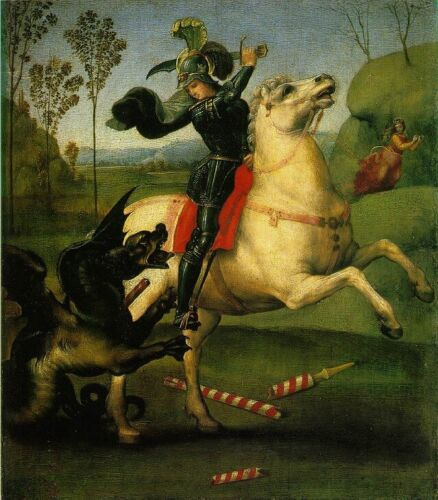 Fine Art Print//Poster St George Struggling with the Dragon Raphael