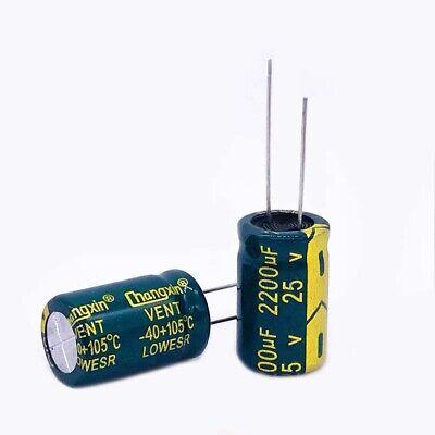 10 Pcs 25V 2200uF 105C Radial Lead Electrolytic Capacitor 13mm x 20mm