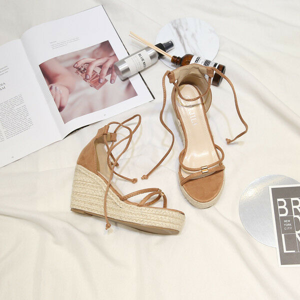 Sandali eleganti sabot zeppa ciabatte 13 beige comodi comodi simil pelle  cw826