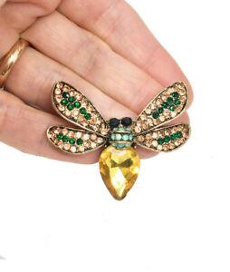 """1.5 """" Hoch Gelb,pfirsich,grün Unecht Opal Acryl Strasssteine Bee Fly Brosche"""