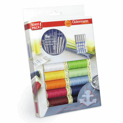GUTERMANN SEW ALL MULTI COLOUR THREAD SET 10 X COLOURS REELS SEWING EMBROIDERY