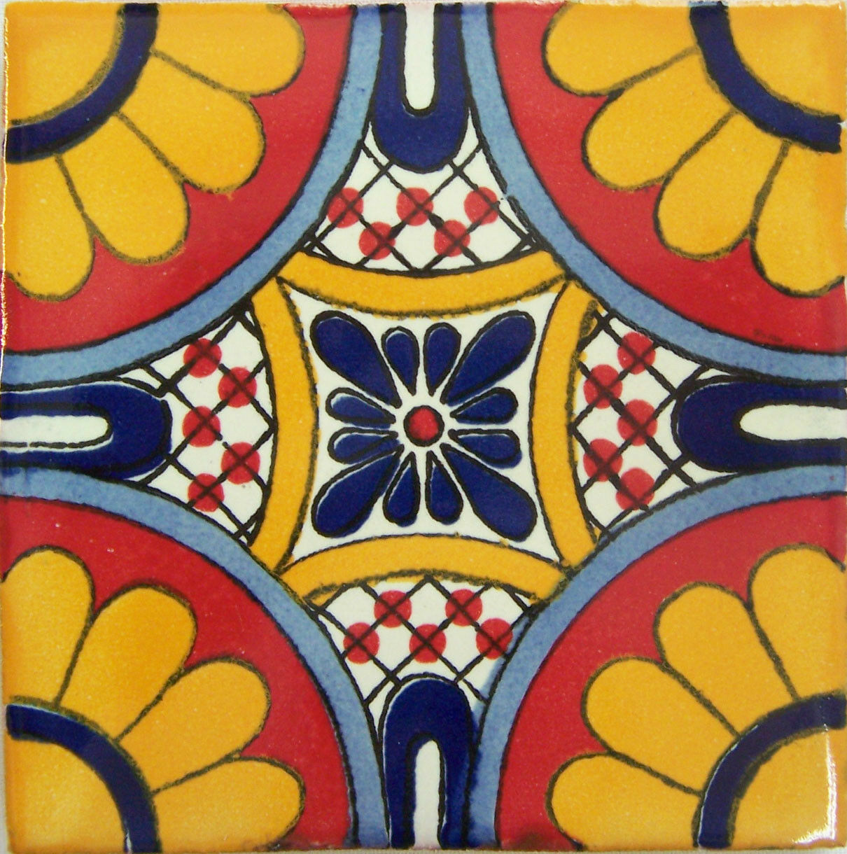 C301 - Mexican Handmade Talavera Clay Tile Folk Art 4x4