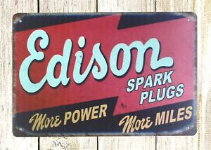 Edison Spark Plugs Garage Tin Metal