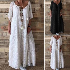 ZANZEA-Femme-Col-V-Manches-courtes-Dentelle-robe-femmes-Party-Maxi-Robes-Caftan