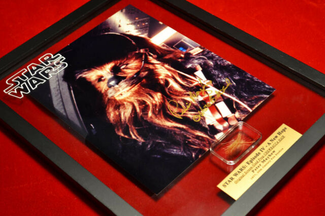 Signed PETER MAYHEW Autograph Frame, Prop CHEWBACCA Hair, STAR WARS Blu DVD, COA