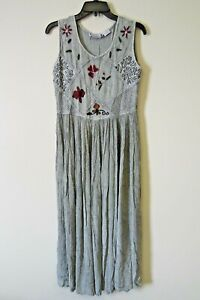 Premier-Intl-Ladies-Dress-Sz-XS-S-Maxi-Broomstick-Boho-Crinkle-Rayon-Green-Gray
