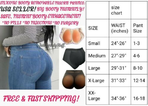 BIG BOOTY REMOVABLE SILICONE PADDED UNDERWEAR PANTIES BRIEF BIG BUTT INSTANTLY*