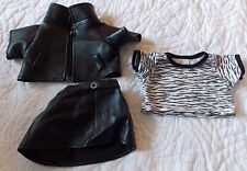 Build A Bear Motorcycle Black Faux Leather Outfit Girl Female Skirt Coat  BAB