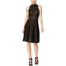 INC 6978 Womens Black Lace Mock-Neck Fit & Flare Cocktail Dress 16 BHFO