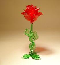 """Blown Glass """"Murano"""" Figurine Flower Dark RED Rose Standing"""