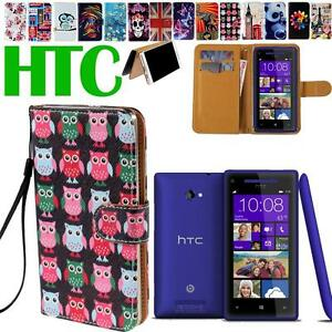 Folio-Flip-Stand-Card-Wallet-Leather-Cover-Case-For-Various-HTC-Desire-Phones