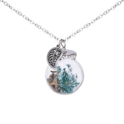 Real Dried Flower Glass Wishing Bottle Dandelion Sweater Chain Pendant Necklace