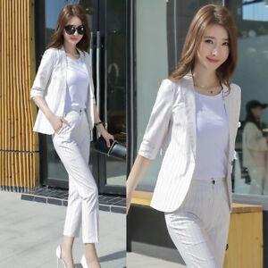 fe58276f37 Dettagli su Elegante Tailleur completo bianco gessato giacca manica lunga  pantaloni 7175
