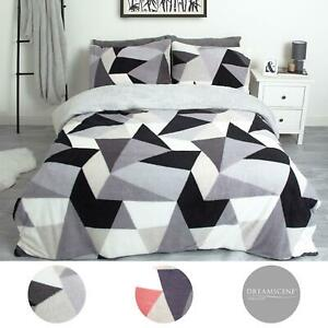 Dreamscene Shapes Teddy Fleece Duvet Cover with Pillowcase Soft Warm Bedding Set