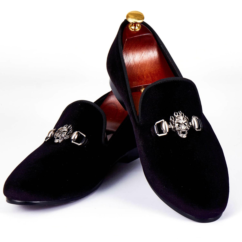 4cd4eef322bd9c Harpelunde Skull Buckle Strap Men Dress shoes shoes shoes Black Velvet  Loafers Size 7-14 ...