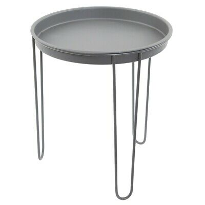 Large Grey Metal Round Tray Side Table