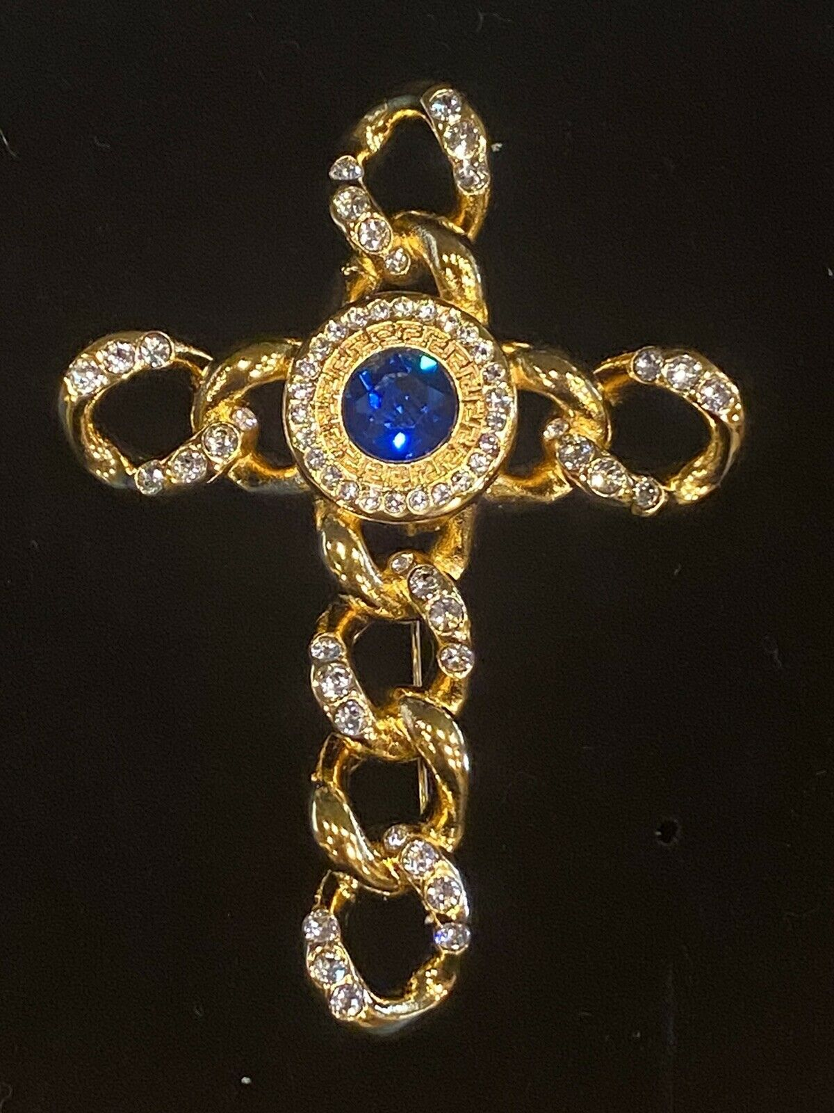 SIGNED VINTAGE GOLD PLATED GIANNI VERSACE CRYSTAL… - image 2